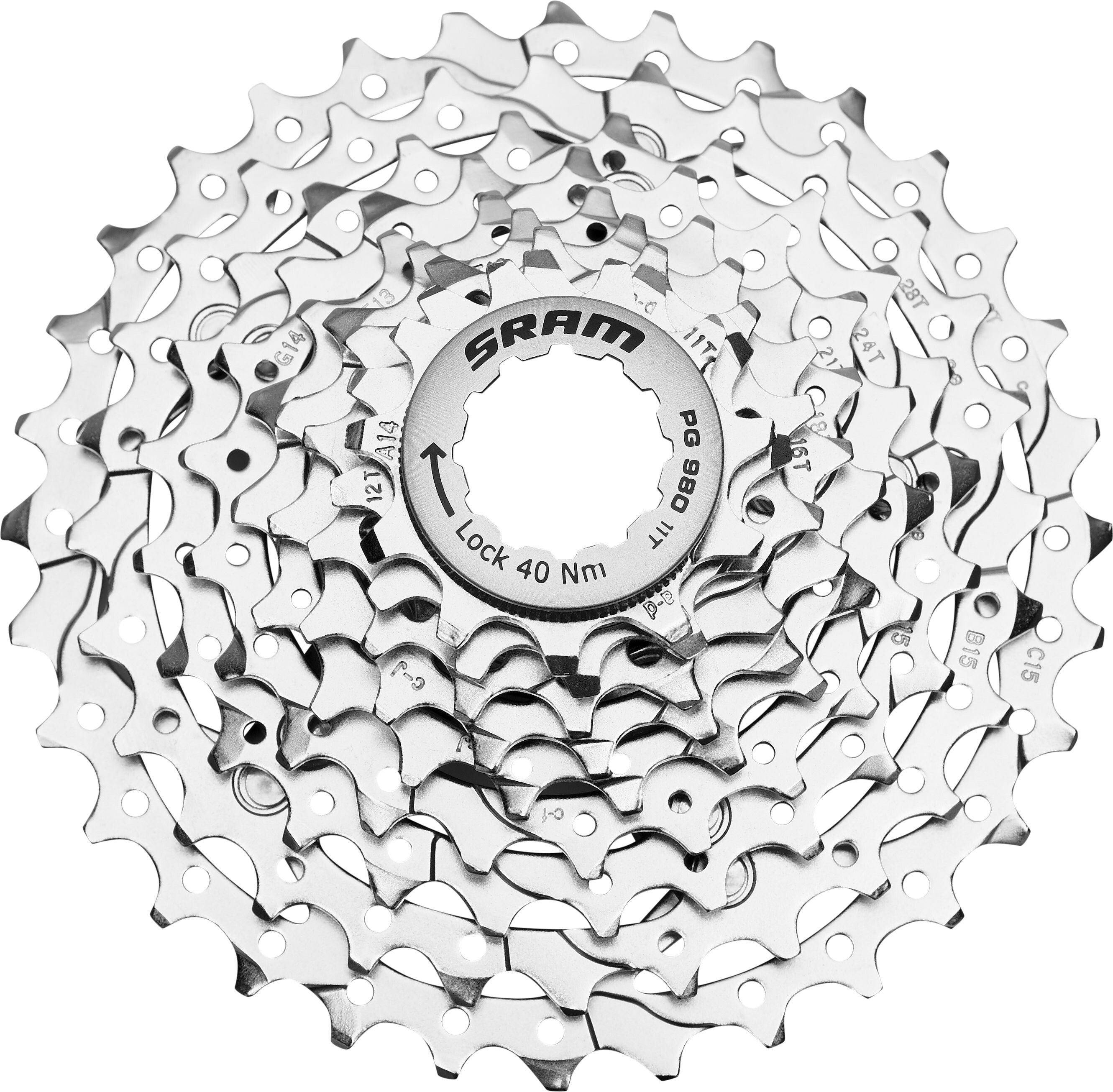 SRAM PG-980 Powerglide II Cassette 9-speed silver at